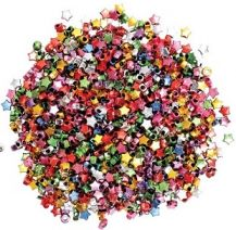 BEADS - METALLIC STAR ASSORTED 100 GRAM