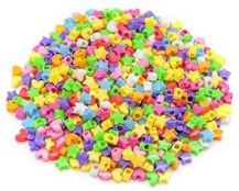 BEADS - PLASTIC ASSORTED STARS AND HEARTS 100GRAMS
