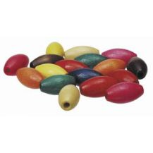 BEADS - WOODEN OVAL 14 X 25MM  100'S