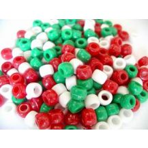 BEADS - PONY OPAQUE XMAS COL 100G