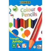 JUMBO TRI-COLOUR PENCIL 12'S OSMER