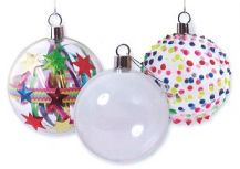CLEAR PLASTIC BAUBLE PKT 10