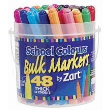 SCHOOL COLOURS THICK MARKERS 48'S (PM700)