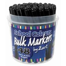 SCHOOL MARKERS BLACK TUB OF 48