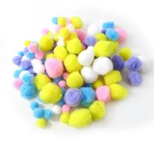 POM POM - PASTEL ASSORTED SIZES 100