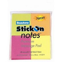 STICK-ON-NOTES NEON 38 X 50 ASST