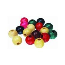 BEADS WOODEN 16mm (PKT 100) ASST