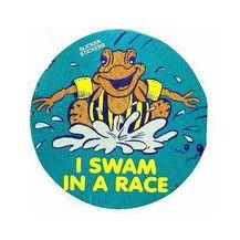 """SLICKER STICKER:- """"I SWAM IN A RACE"""