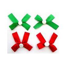 SATIN RIBBON BOWS RED/GREEN ADH 50P