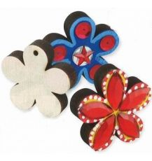 SHAPES - (CN527) WOODEN FLOWER 5CM 12'S