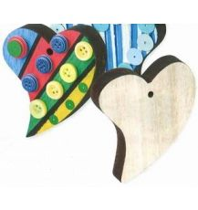 SHAPES - (CN528) WOODEN HEARTS 7CM 12'S
